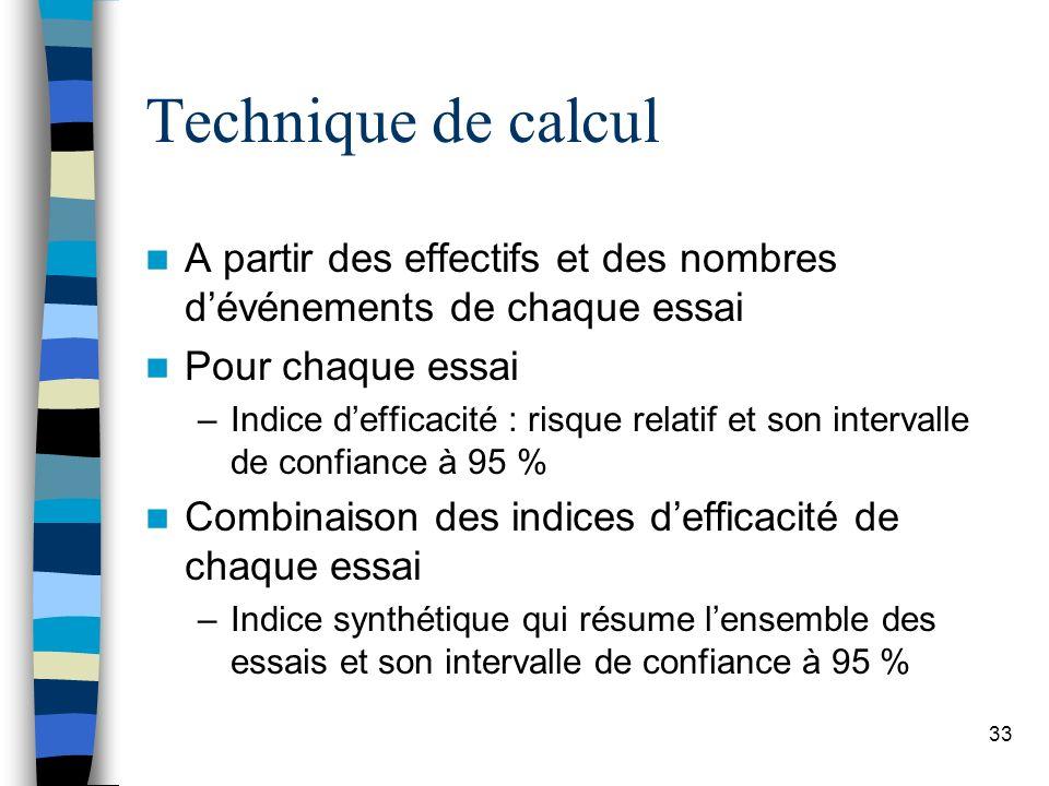 Technique de calcul A partir des effectifs et des nombres d'événements de chaque essai. Pour chaque essai.