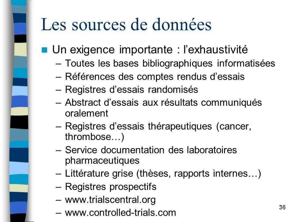 Les sources de données Un exigence importante : l'exhaustivité