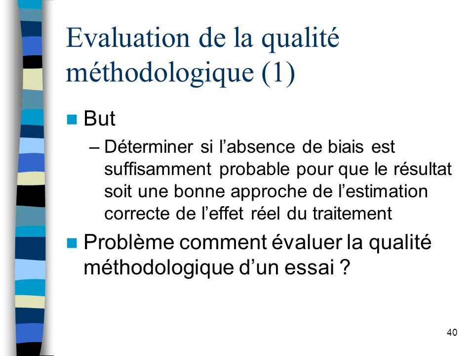 Evaluation de la qualité méthodologique (1)