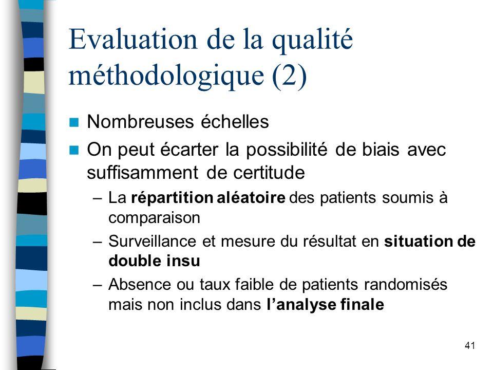 Evaluation de la qualité méthodologique (2)