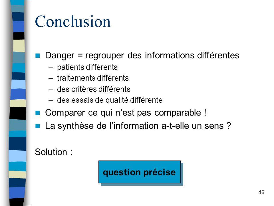 Conclusion Danger = regrouper des informations différentes