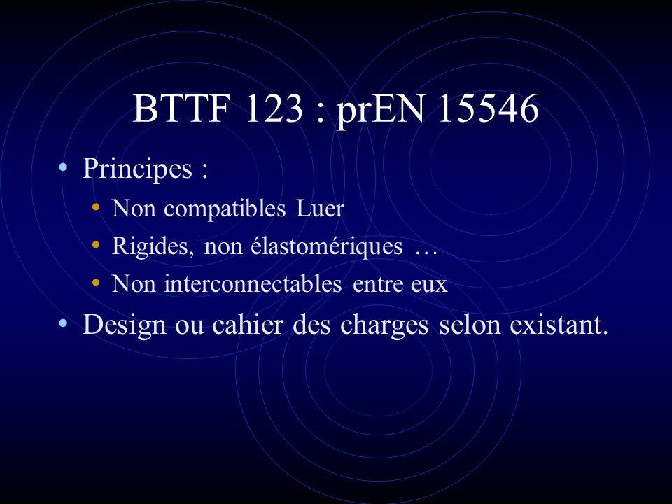 BTTF 123 : prEN 15546 Principes : Non compatibles Luer. Rigides, non élastomériques … Non interconnectables entre eux.