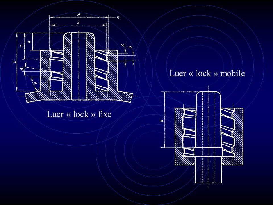 Luer « lock » mobile Luer « lock » fixe