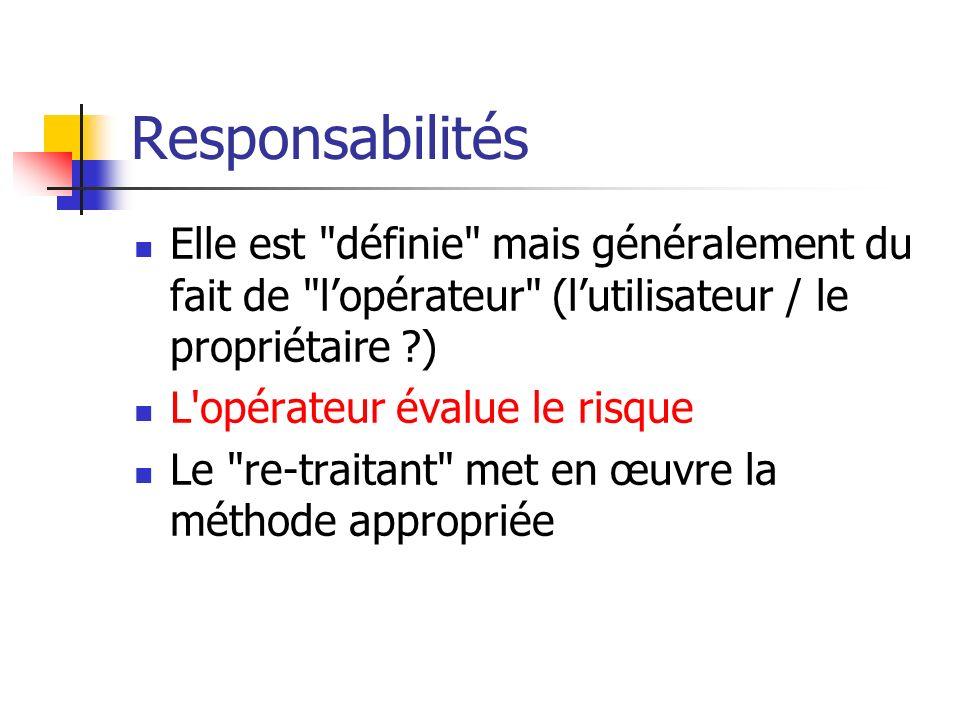 Responsabilités Elle est définie mais généralement du fait de l'opérateur (l'utilisateur / le propriétaire )