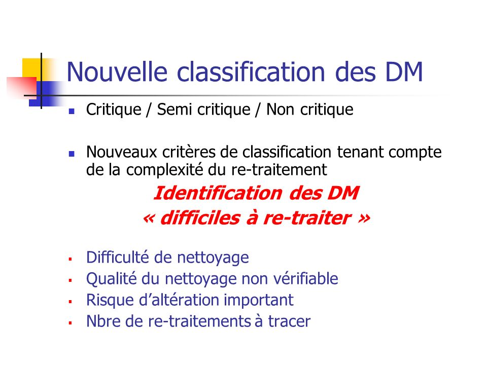 Nouvelle classification des DM