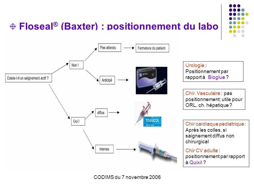 Floseal® (Baxter) : positionnement du labo