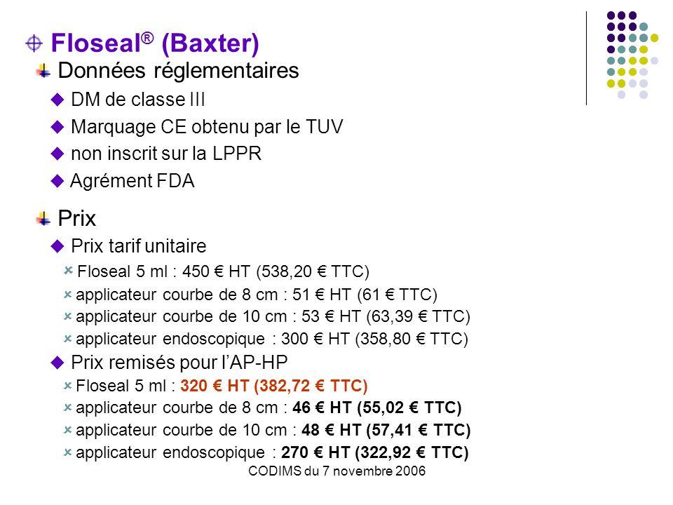 Floseal® (Baxter) Données réglementaires Prix DM de classe III
