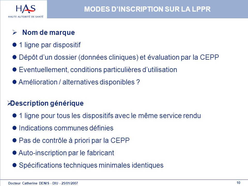 MODES D'INSCRIPTION SUR LA LPPR