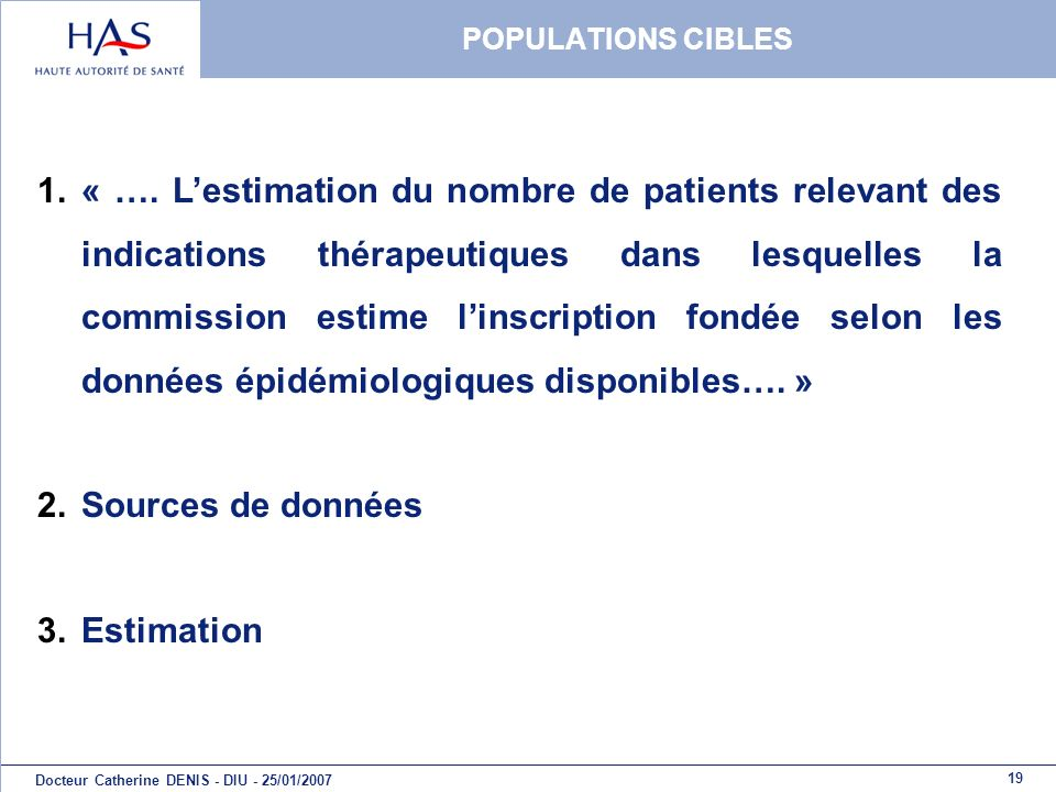 POPULATIONS CIBLES