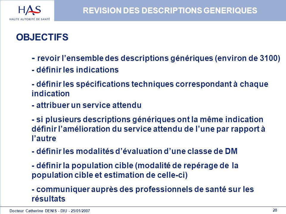 REVISION DES DESCRIPTIONS GENERIQUES