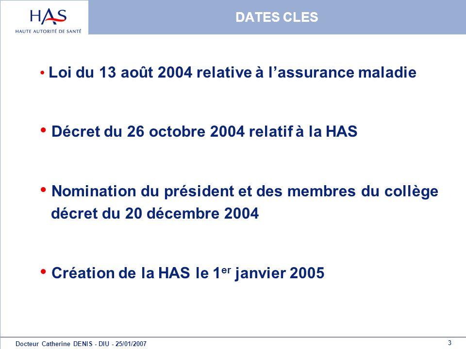 Décret du 26 octobre 2004 relatif à la HAS