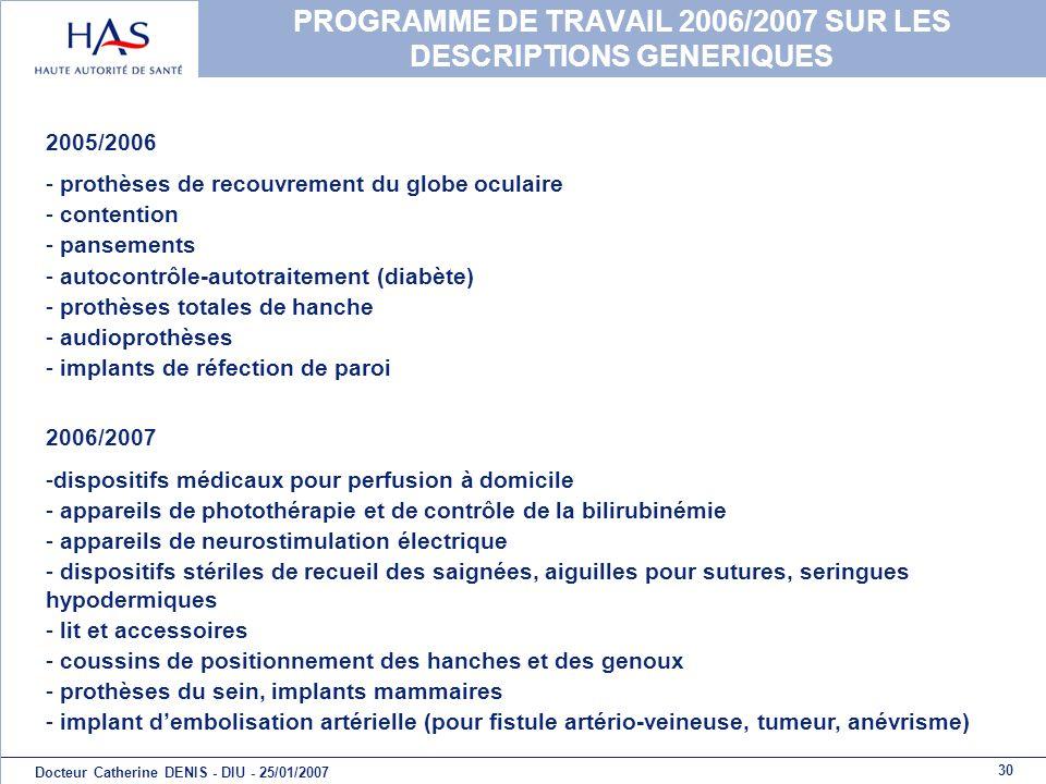 PROGRAMME DE TRAVAIL 2006/2007 SUR LES DESCRIPTIONS GENERIQUES