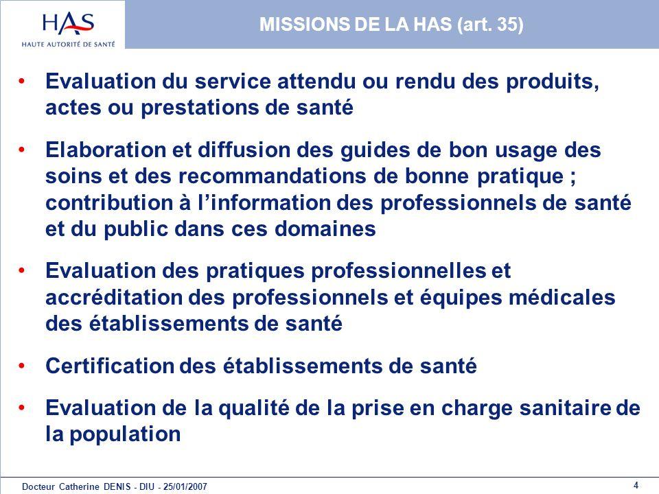 MISSIONS DE LA HAS (art. 35)