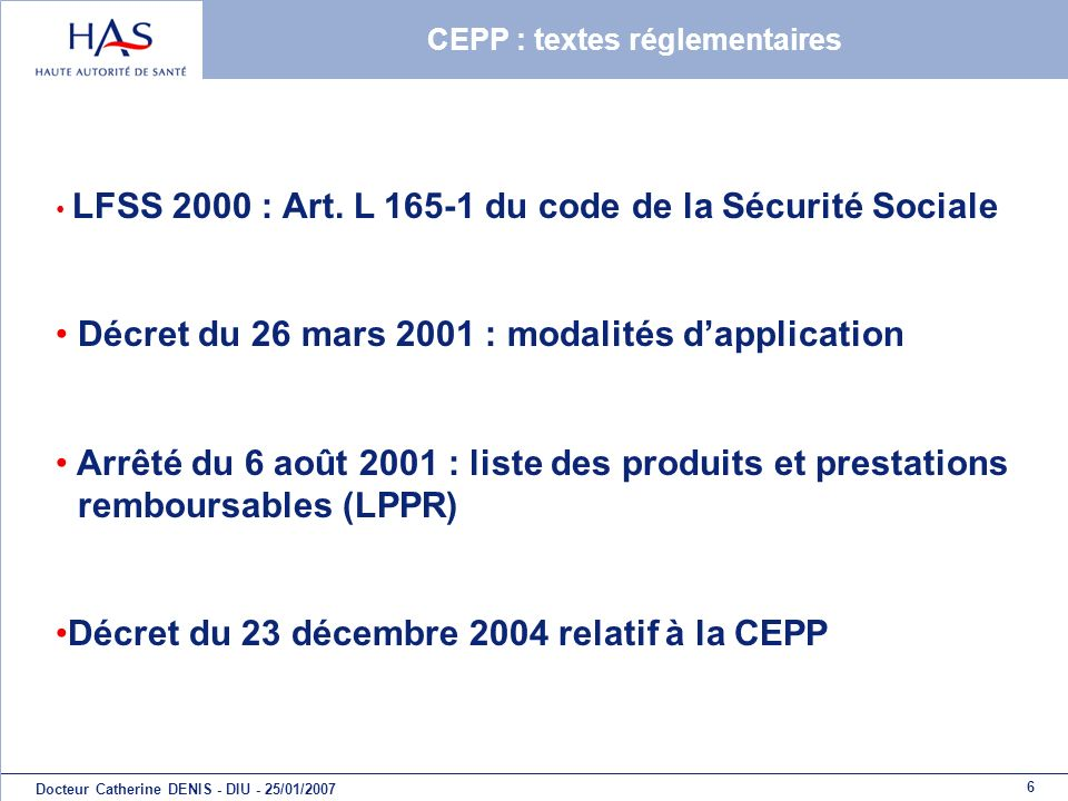 CEPP : textes réglementaires