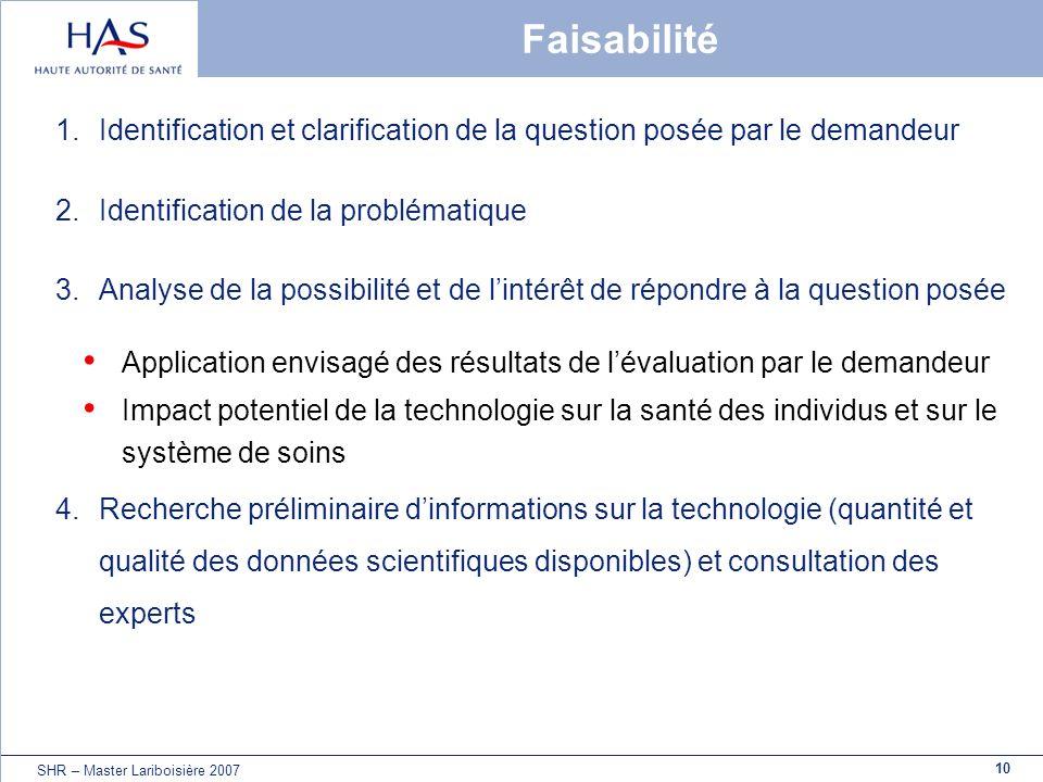 Faisabilité Identification et clarification de la question posée par le demandeur. Identification de la problématique.