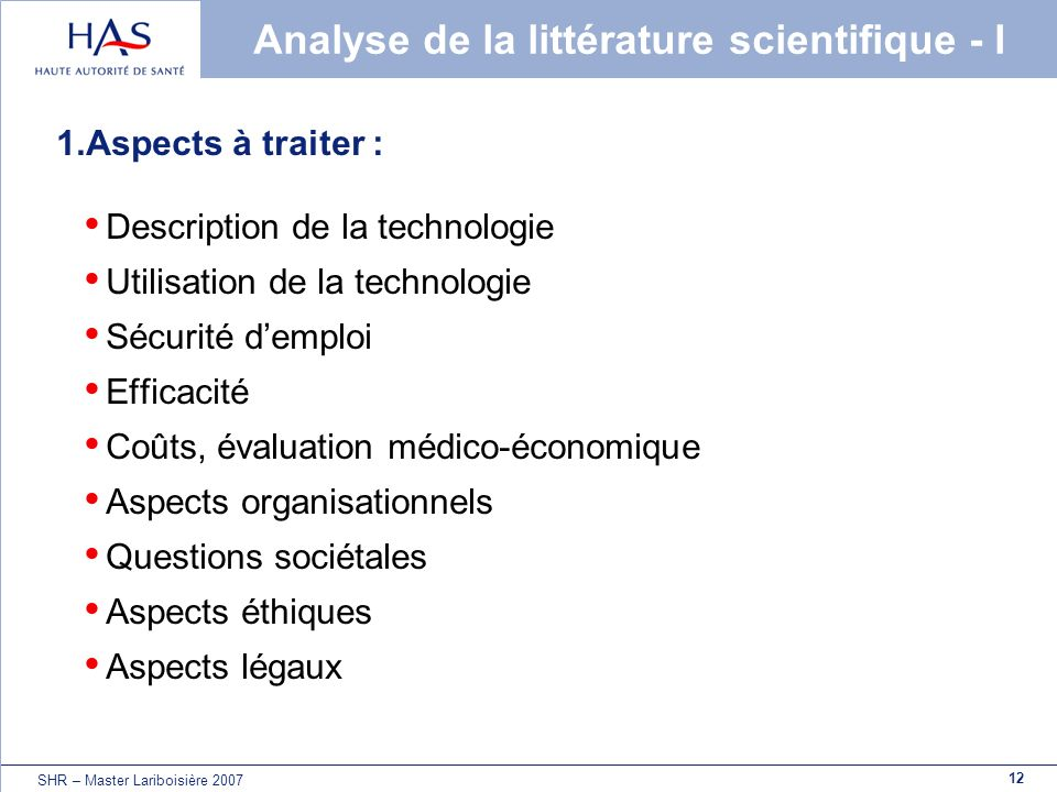 Analyse de la littérature scientifique - I