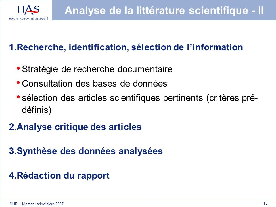 Analyse de la littérature scientifique - II