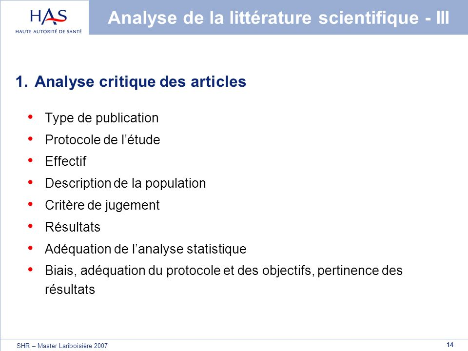 Analyse de la littérature scientifique - III