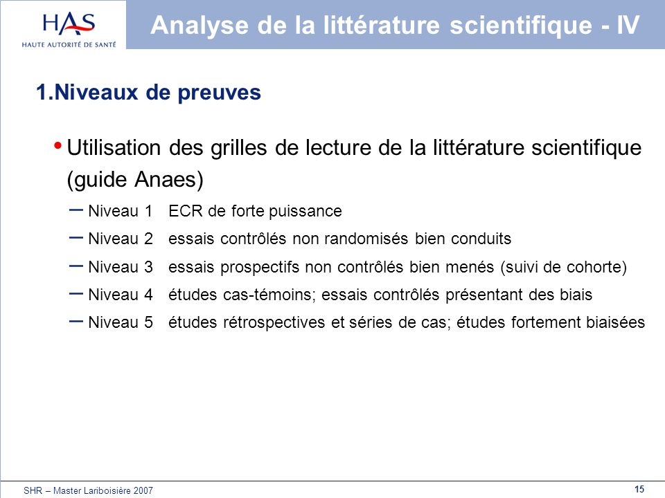 Analyse de la littérature scientifique - IV