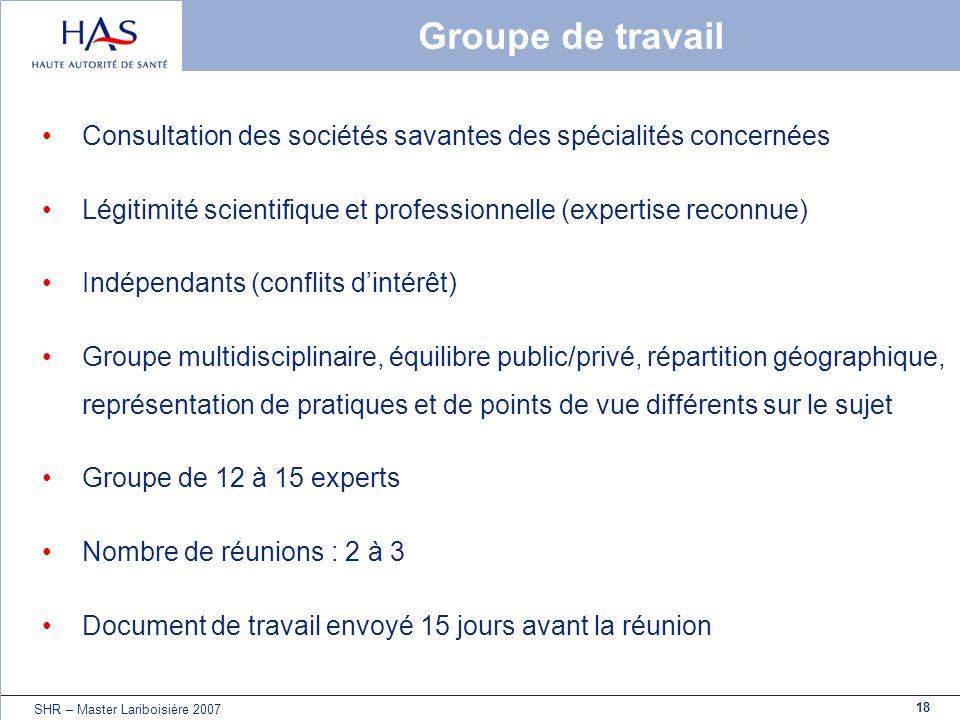 Groupe de travail Consultation des sociétés savantes des spécialités concernées. Légitimité scientifique et professionnelle (expertise reconnue)