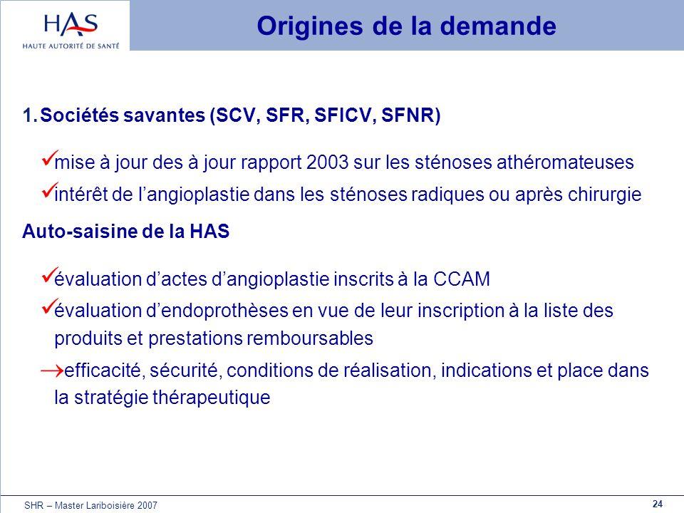 Origines de la demande Sociétés savantes (SCV, SFR, SFICV, SFNR)