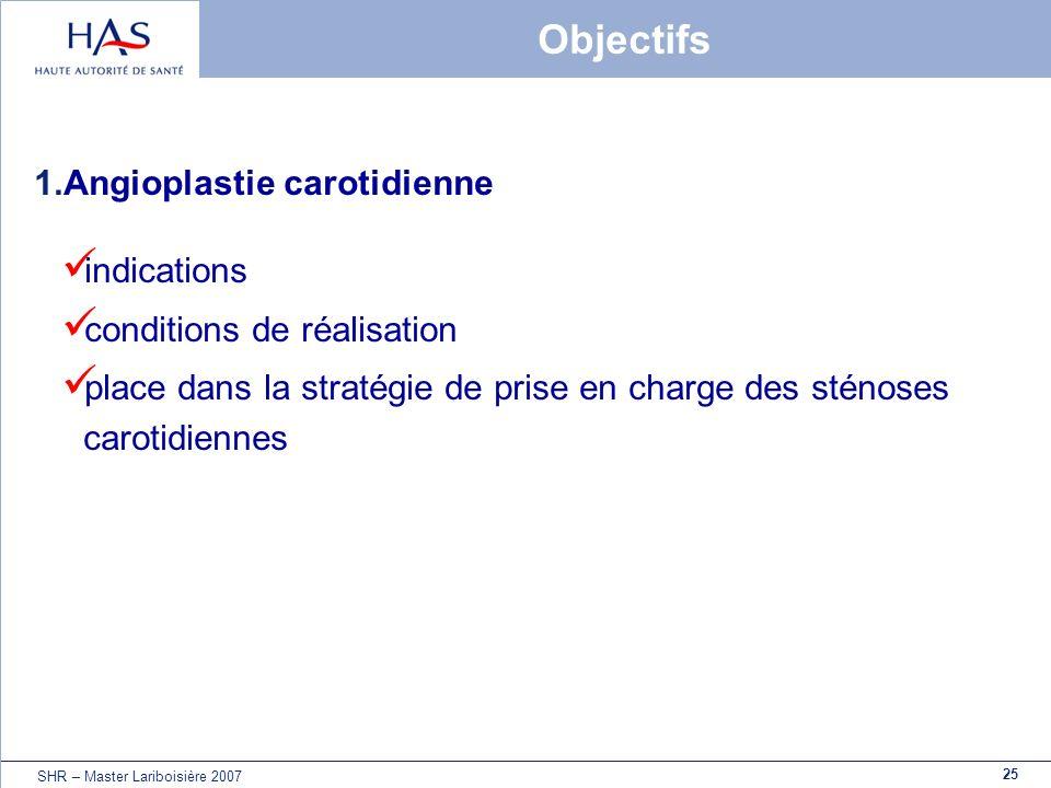 Objectifs Angioplastie carotidienne indications