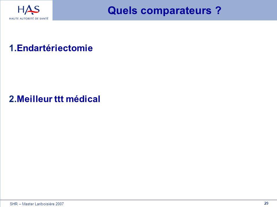 Quels comparateurs Endartériectomie Meilleur ttt médical