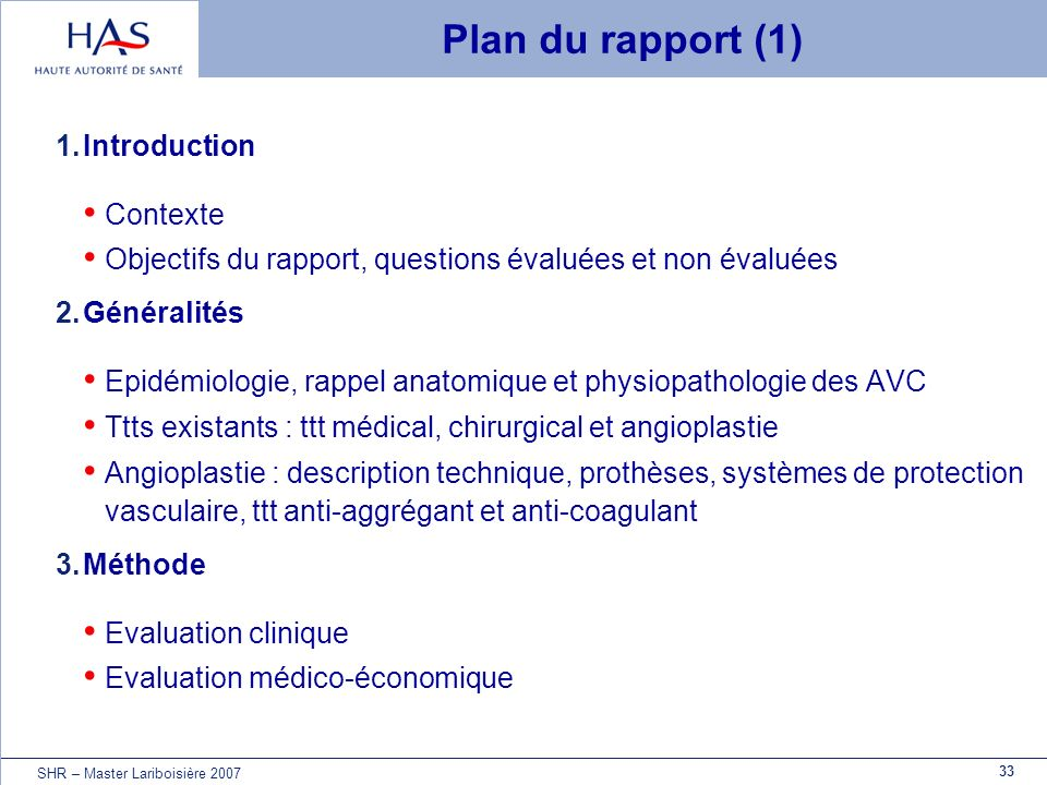 Plan du rapport (1) Introduction Contexte