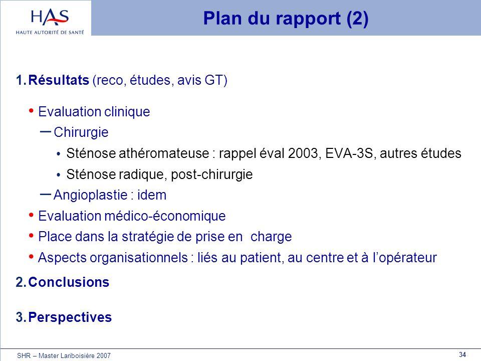 Plan du rapport (2) Résultats (reco, études, avis GT)
