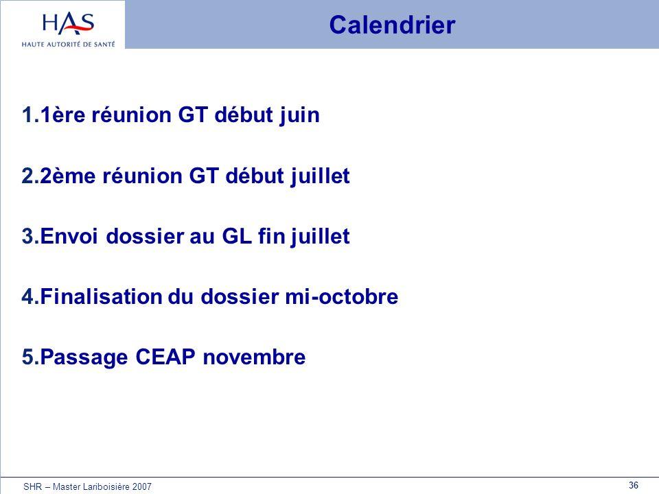 Calendrier 1ère réunion GT début juin 2ème réunion GT début juillet