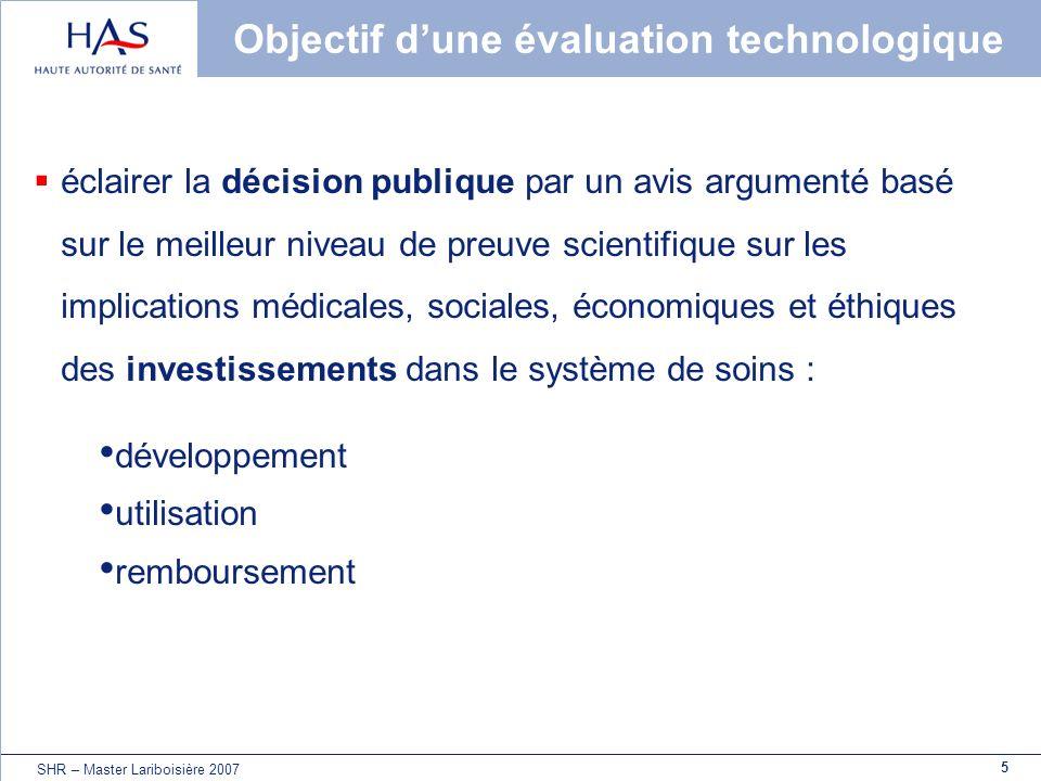 Objectif d'une évaluation technologique