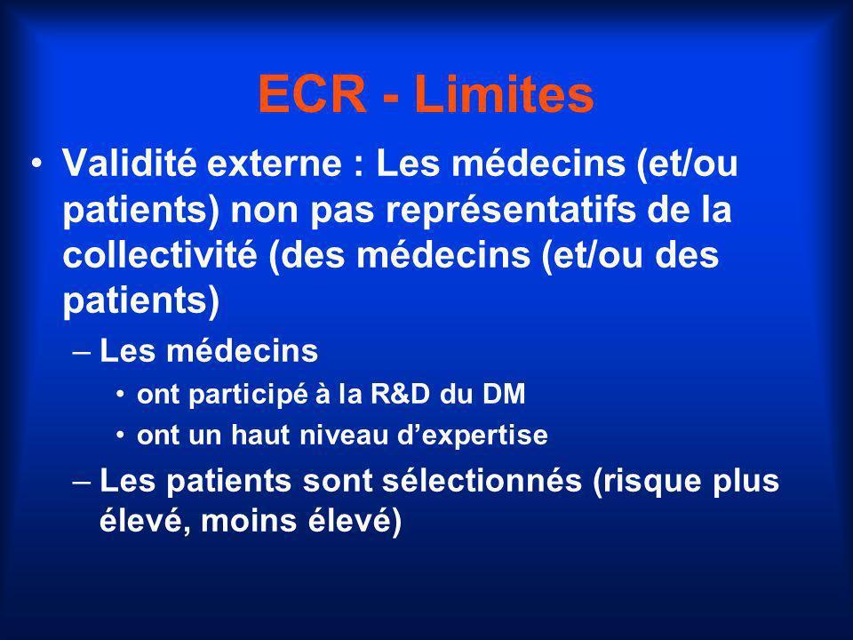 ECR - Limites Validité externe : Les médecins (et/ou patients) non pas représentatifs de la collectivité (des médecins (et/ou des patients)