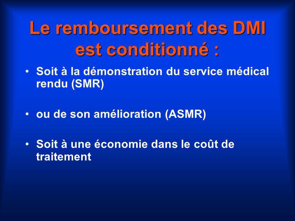 Le remboursement des DMI est conditionné :