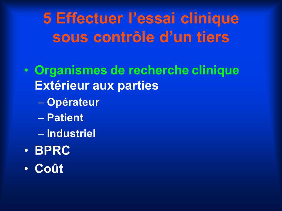 5 Effectuer l'essai clinique sous contrôle d'un tiers