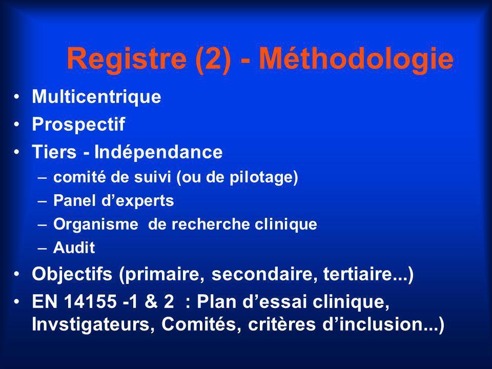 Registre (2) - Méthodologie
