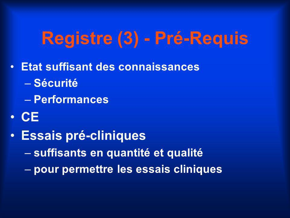 Registre (3) - Pré-Requis