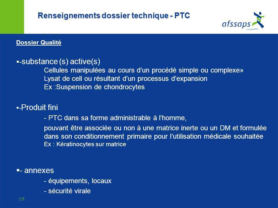 Renseignements dossier technique - PTC