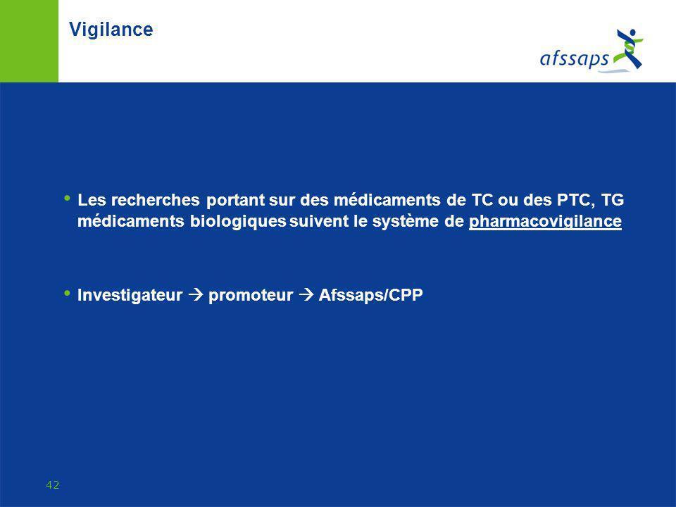 Vigilance Les recherches portant sur des médicaments de TC ou des PTC, TG médicaments biologiques suivent le système de pharmacovigilance.