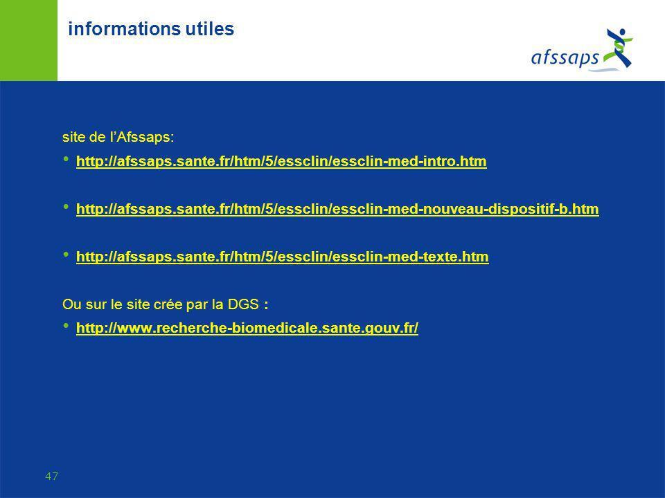 informations utiles site de l'Afssaps: