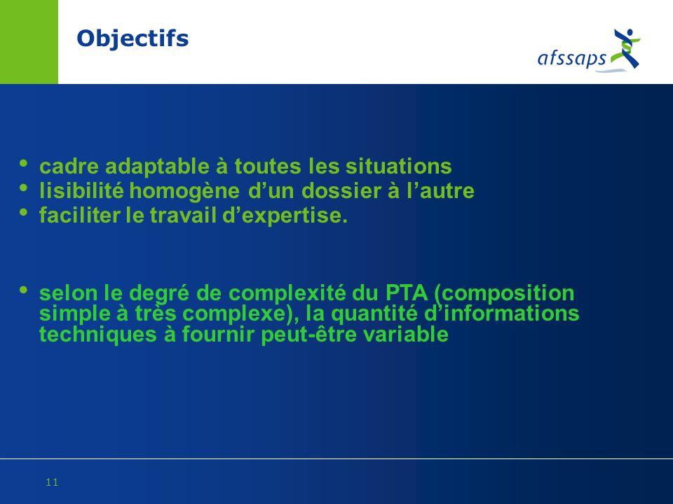 Objectifs cadre adaptable à toutes les situations. lisibilité homogène d'un dossier à l'autre. faciliter le travail d'expertise.