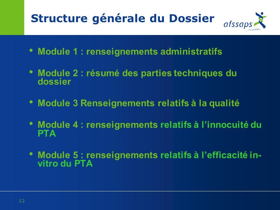 Structure générale du Dossier