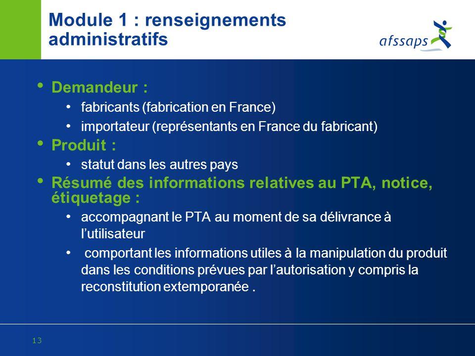 Module 1 : renseignements administratifs