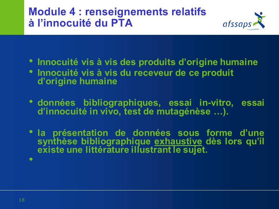 Module 4 : renseignements relatifs à l'innocuité du PTA