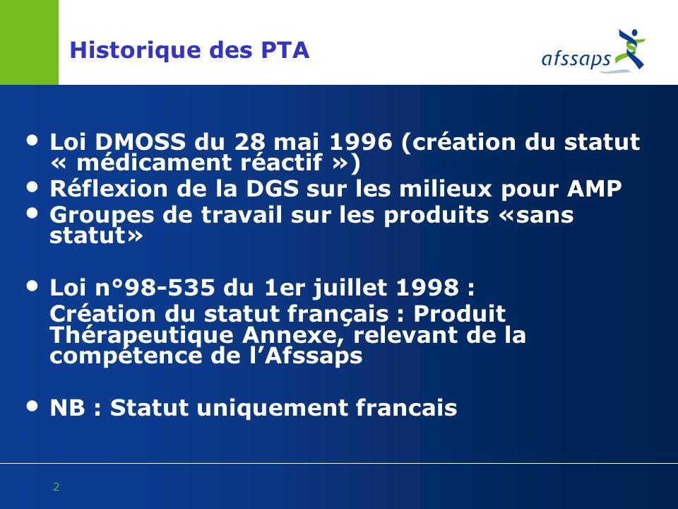 Historique des PTA Loi DMOSS du 28 mai 1996 (création du statut « médicament réactif ») Réflexion de la DGS sur les milieux pour AMP.
