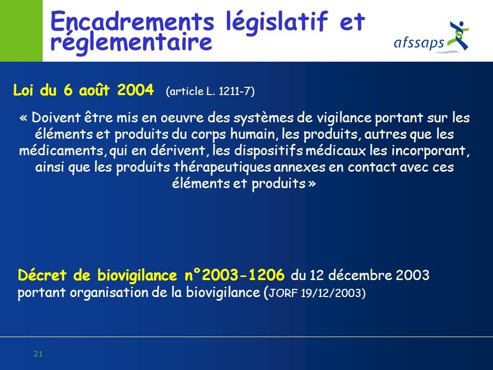 Encadrements législatif et réglementaire
