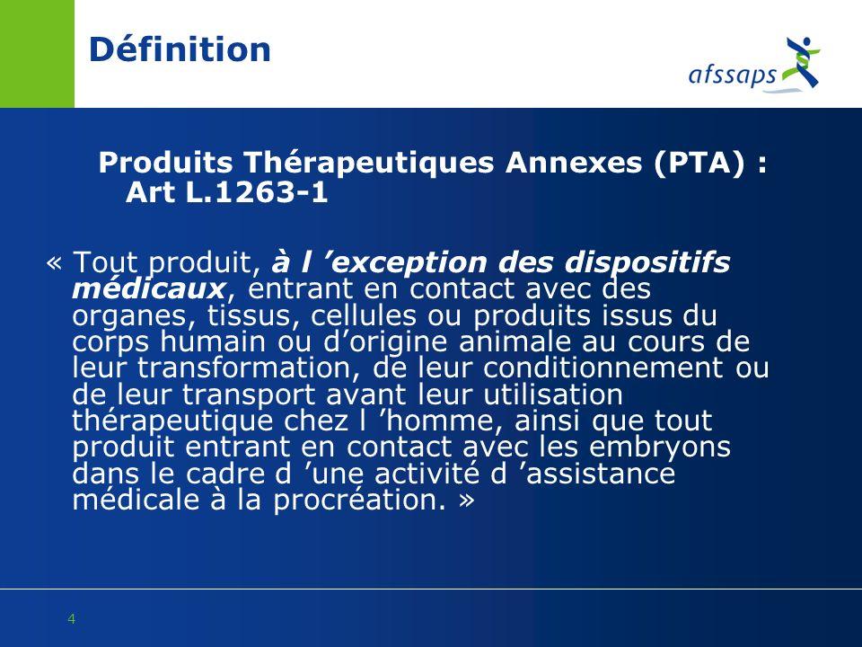 Définition Produits Thérapeutiques Annexes (PTA) : Art L.1263-1