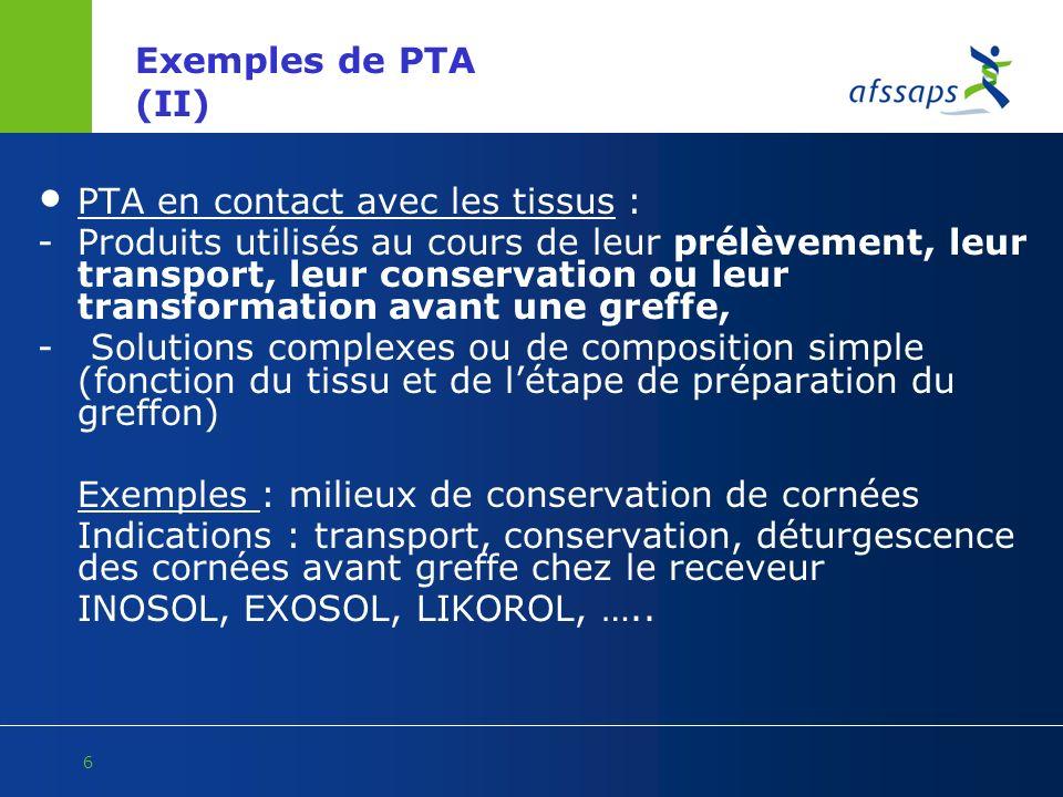 Exemples de PTA (II) PTA en contact avec les tissus :
