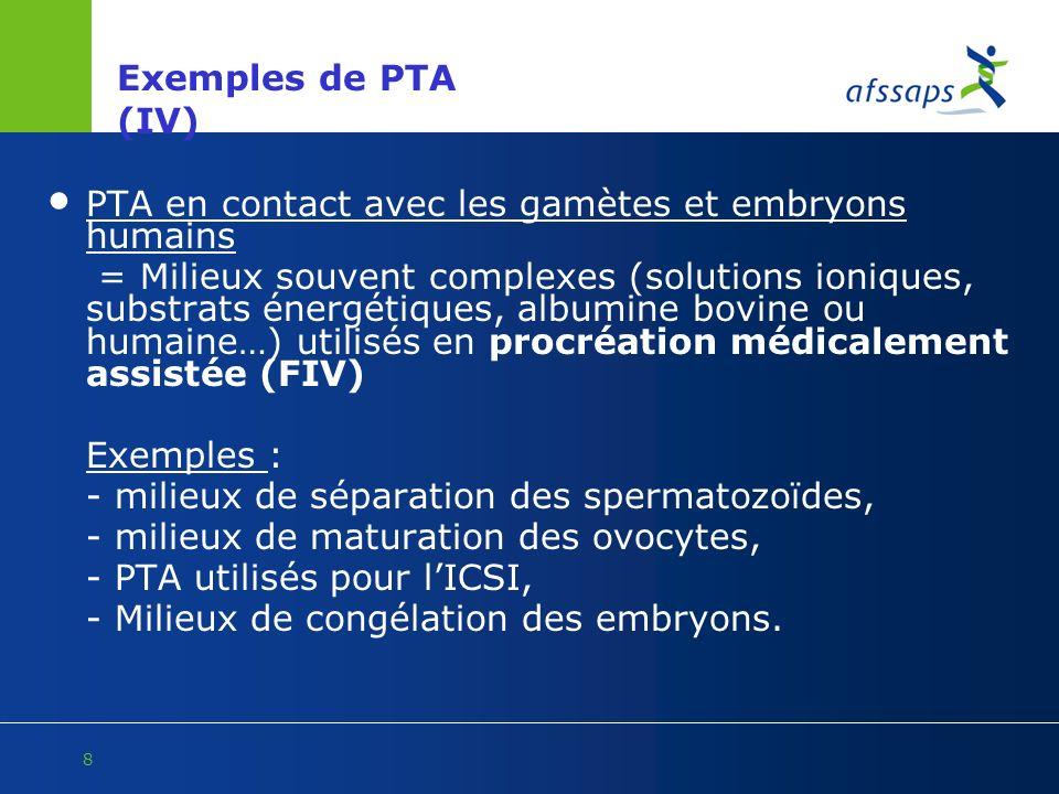 Exemples de PTA (IV) PTA en contact avec les gamètes et embryons humains.
