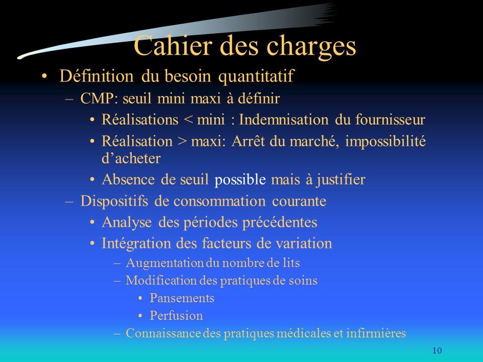 Cahier des charges Définition du besoin quantitatif