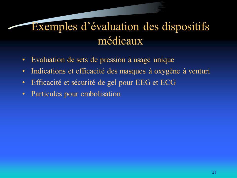 Exemples d'évaluation des dispositifs médicaux